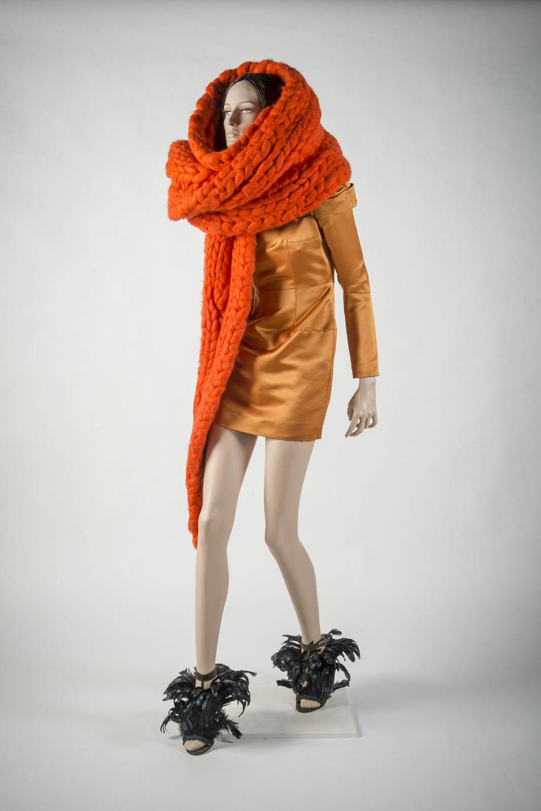 Giles 2007 orange giant knit scarf and silk satin dress (Gina shoes)
