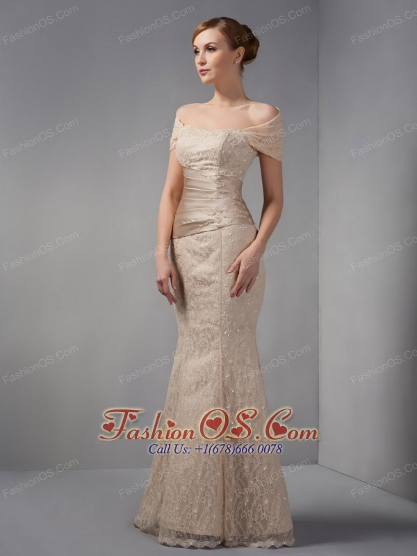 Unique Champagne Mermaid Mother Of The Brides Dress Off The Shoulder Beading Floorlength Lace