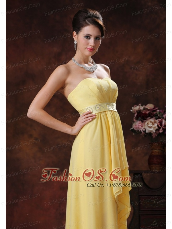 2013 Nogales Arizona New Style Yellow Highlow Prom Dress