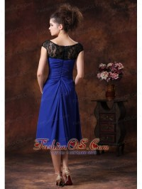 Chiffon Ruched Straps Navy Blue 2013 Tea
