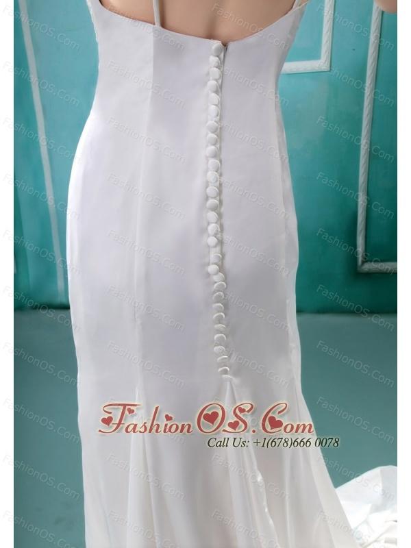 Vneck Neckline Sequins and Rhinestones Decorate Wedding Dress With Short Sleeves 14098