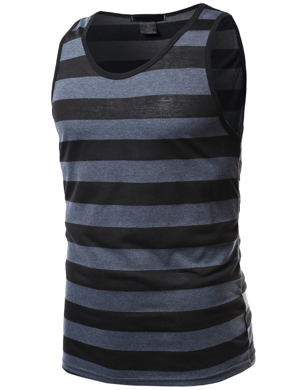 Fashionoutfit Men' Casual Beach Summer Striped Neck Tank Top Tee Shirt