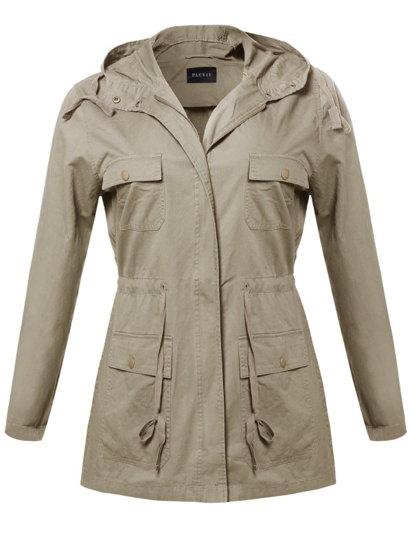 Fashionoutfit Women' Casual Lightweight Hood Military Safari Jacket Size