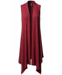 Women's Solid Sleeveless Asymmetric Hem Open Front Drape ...