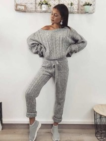 SHARPAY GREY KNITTED TWO PIECE