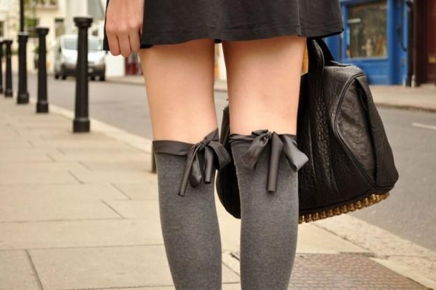 calze parigine con fiocco raso