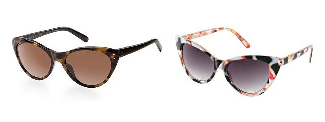 Left: Ralph Lauren Cat Eye Sunglasses $160 at Macys Right: ASOS Cat Eye Sunglasses with Multi Frame $16.97