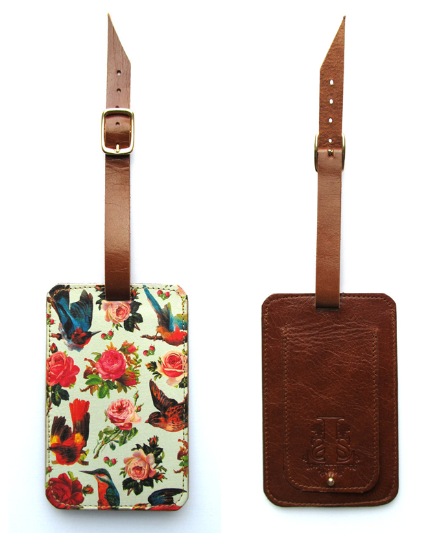 Birds and Roses Luxury Leather Luggage Tag