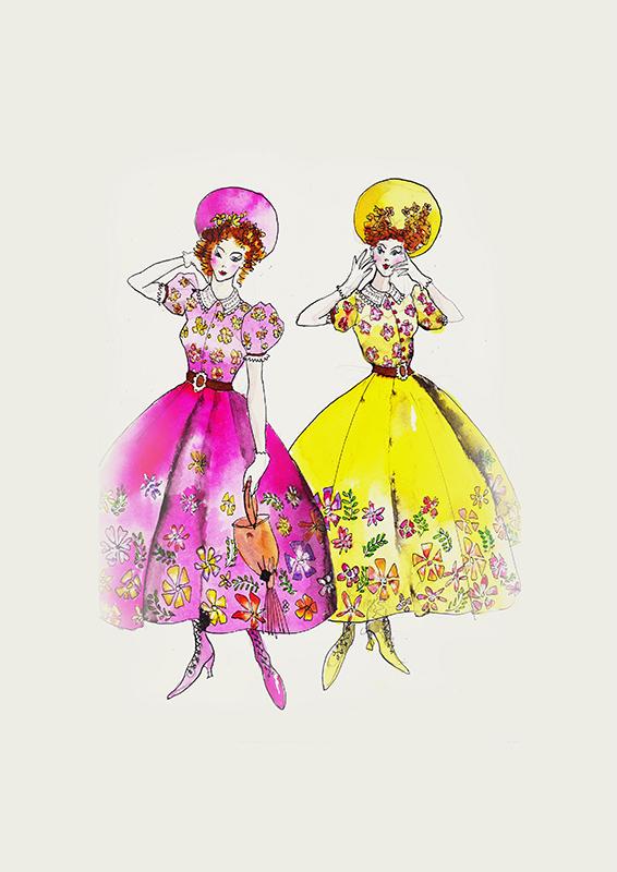 Von der Idee zum Kleid: Sandy Powells Kostümskizze für die bösen Stiefschwestern...