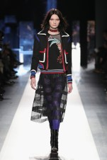 DESIGUAL_NYFW_AW17_ATWALK_LOOK 43..NEW YORK, NY - FEBRUARY 09:A model walks the runway at the Desigual show New York Fashion Week The Shows at Gallery 1, Skylight Clarkson Sq on February 9, 2017 in New York City.