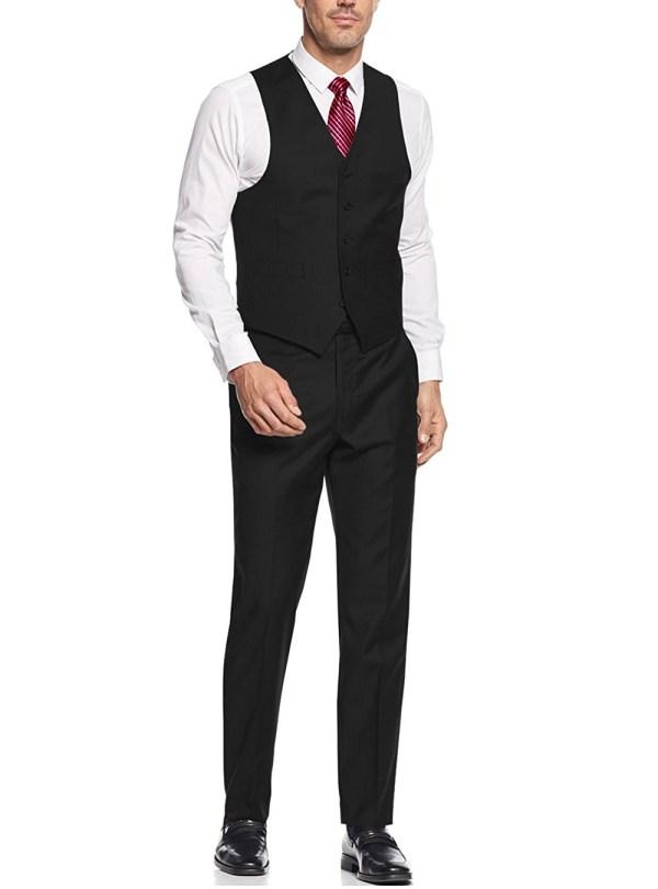Mens Black 3 Button Vested Piece Suits Salvatore Exte
