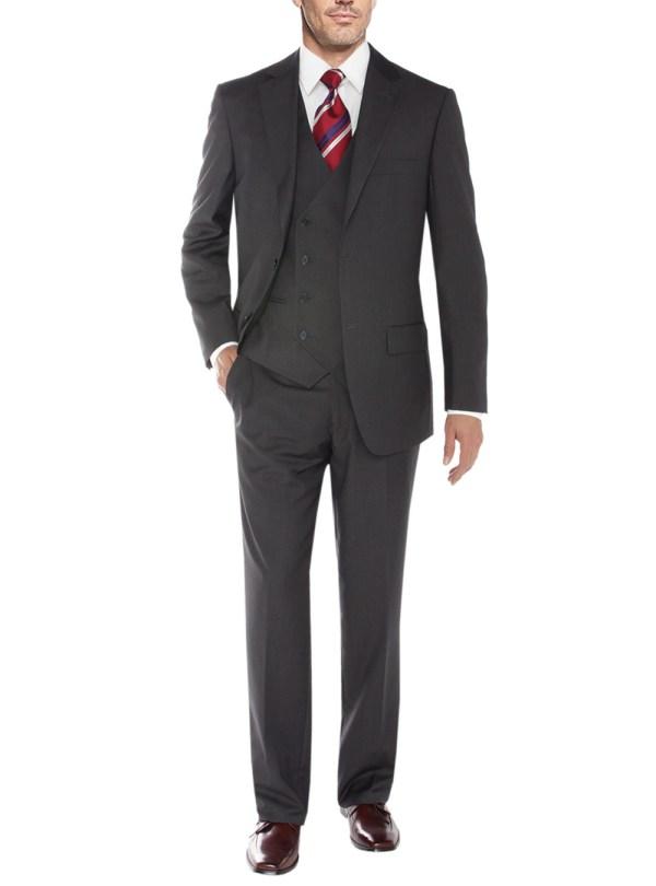 Mens Charcoal Vested 3 Piece Suits Salvatore Exte