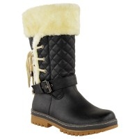 WOMENS LADIES FLAT CALF KNEE HIGH QUILTED FUR LINED WINTER ...