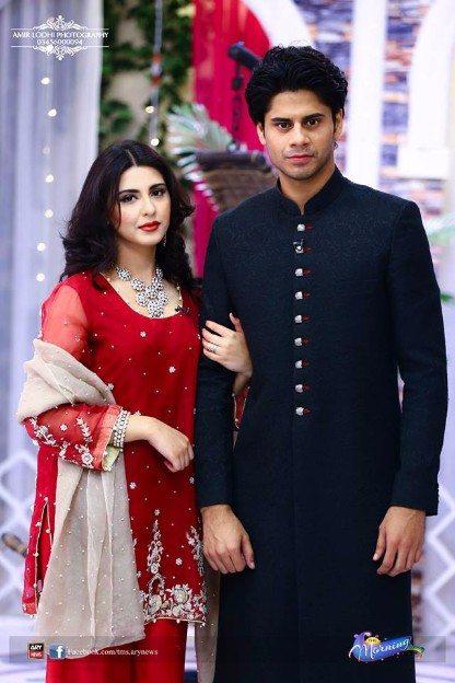 Newly Married Couple Haris Waheed and Maryam Fatima in Sanam Baloch Show  Pakistani Drama