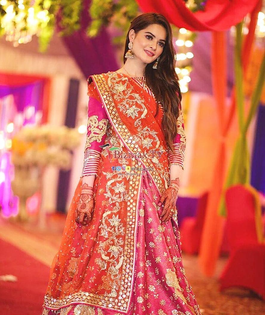 Beautiful Minal Khan At The Aiman Muneeb Mehndi Last Night Pakistani Drama Celebrities