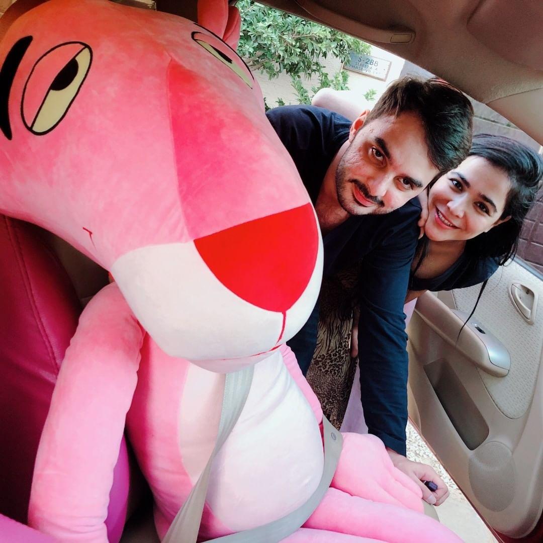 Humaima Malik and Dua Malik Having Fun with their Pink Panther