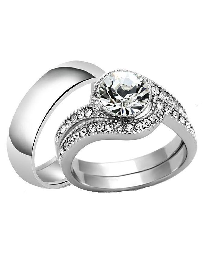 Spiral Elegance Non Fade Titanium Wedding Ring Set (3 In 1)