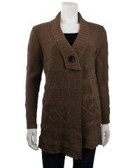 Fashionville.com - Tops - Monoreno Shawl Collar Cable Knit ...