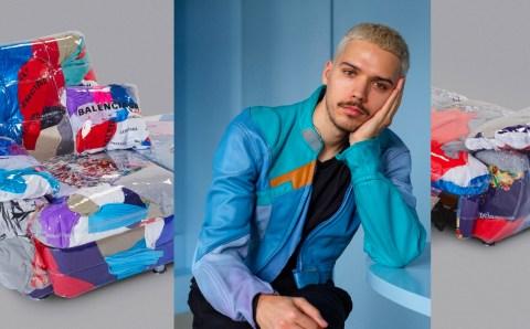 Llega a Miami el sofá hecho con ropa Balenciaga desechada, creado por el artista Harry Nuriev
