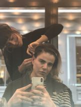 Pixie Tenenbaum at SHOW DRY Notting hill during London Fashion Week FW18 Rihanna beginning to braid back the front of pixie's Hair