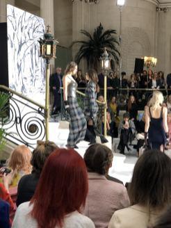 A latex and tweed full length pencil dress at Paul Costelloe FW18 London Fashion Week