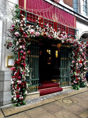 The flower covered front of the Park Chinois in Mayfair, London