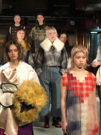 A selection of models at the minki FW18 presntation at the Park Chinois in Mayfair during London Fashion Week