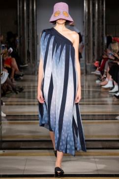 Simon Mo SS19 LFW Fashion Voyeur Blog one shoulder asymetric maxi dress with stripes