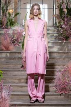A model wears pink co-ords in the Malene Oddershede Bach SS19 shoot by Chris Yates for Fashion Voyeur Blog