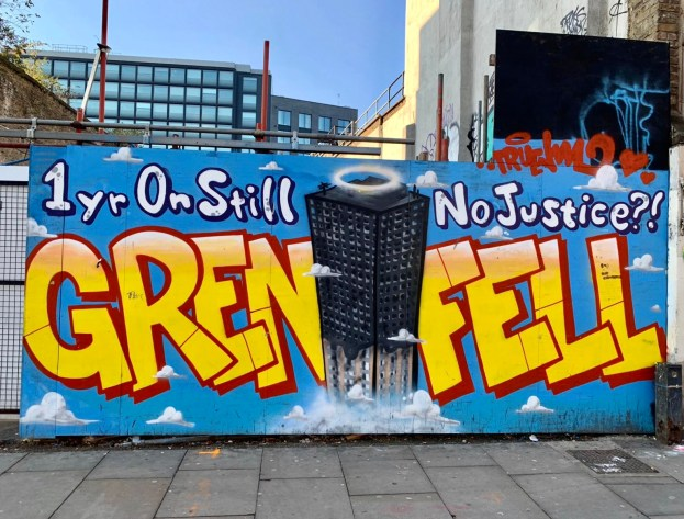 iPhone XS Camera Trial: Political street art relating to Grenfell one year on and still no justice.