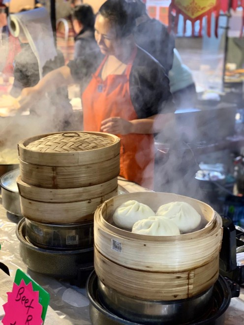 iPhone XS Camera Trial: Dumplings being prepared and cooked and shot through the steam in a food market opposite Old Truman Brewery
