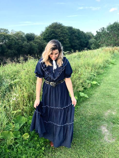 Blogger Pixie Tenenbaum wears a vintage prairie dress from The Pansy Garden