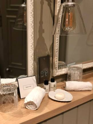 Muckle Hoose Suite Bathroom Toiletries Beadnell Towers Hotel Fashion Voyeur Blog