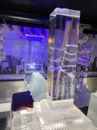 Babe Ruth's Baseball Bat encase in ice on display at the Grey Goose Ice Bar at STACK Newcastle in January 2020