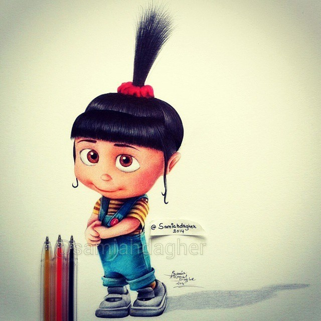 Sweet Girl Cartoon Wallpaper 她將「顏色不多的原子筆」利用細緻筆觸重疊調色,畫出色彩繽紛的迪士尼人物! 時尚華爾滋
