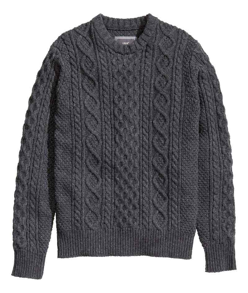 HM Blue cable knit sweater_$49.95