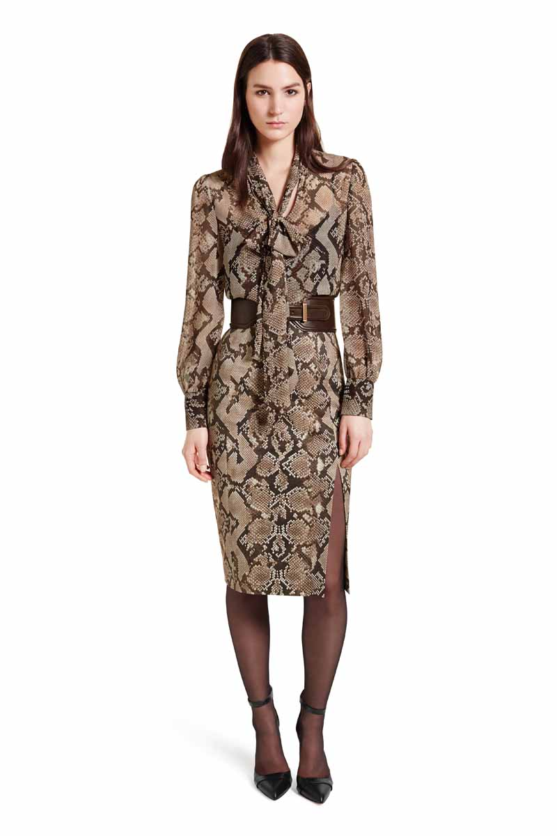 Make a sophisticated statement by pairing the delicate bow blouse with the form-fitting polish of the pencil skirt. Add the croc belt for a tailored, silhouette-enhancing effect. LOOK 8 Bow Blouse in Python Print, $34.99** Pencil Skirt in Python Print, $34.99** Croc Effect Belt in Brown, $29.99** Ankle Strap Shoe in Brown, $39.99* *TARGET.COM EXCLUSIVE ** AVAILABLE GLOBALLY ON NET-A-PORTER.COM