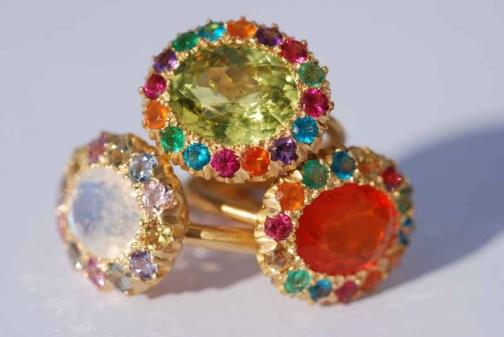 ILU933 Princess Diana Rings (Fire opal , Chrysobéryl, Rainbow Moonstone DSC_0940