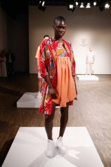 A model poses at the Alexandra Tamele show during the Mercedes-Benz Fashion Week Berlin Spring/Summer 2016 at Stage at me Collectors Room on July 7, 2015 in Berlin, Germany.