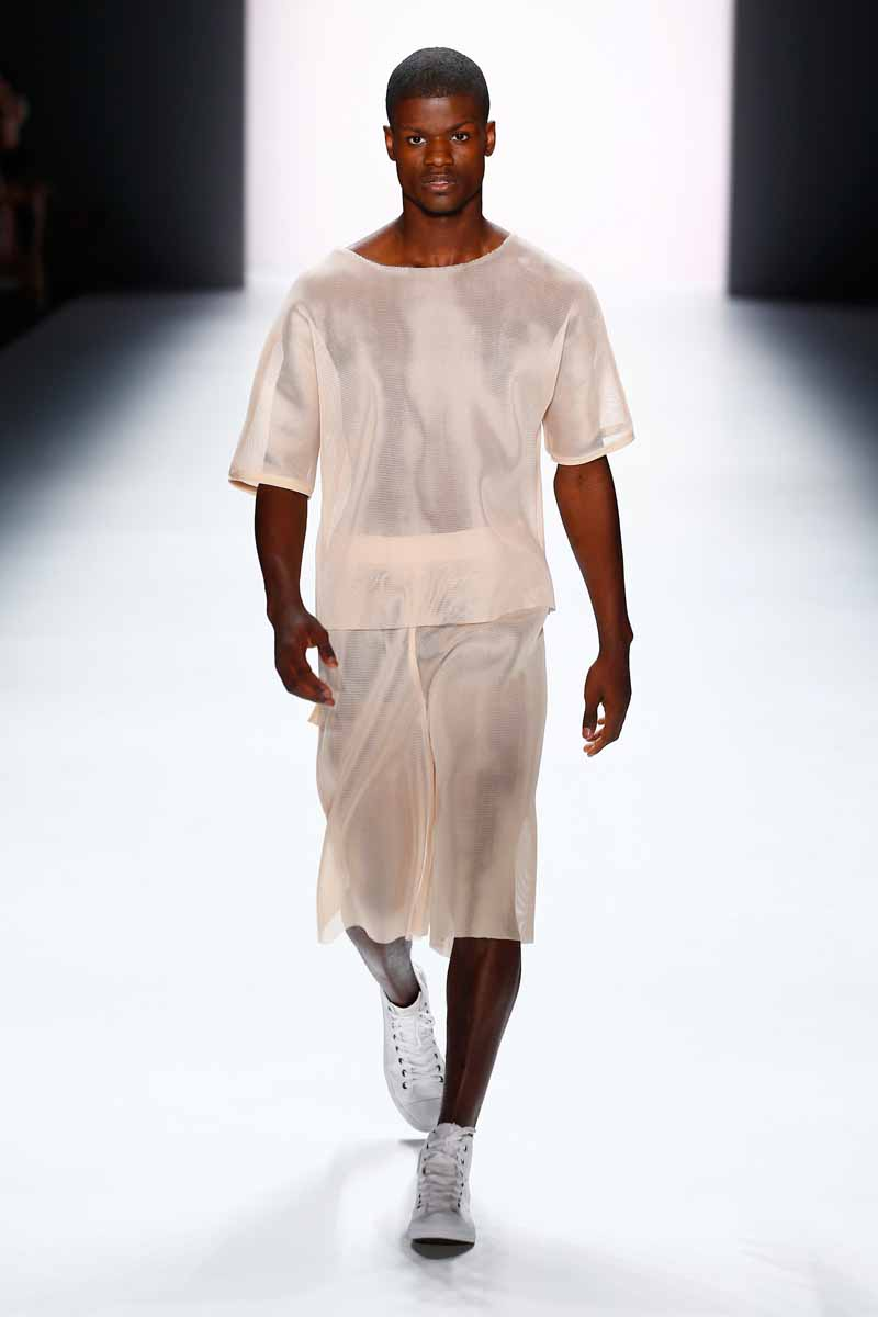 BERLIN, GERMANY - JULY 07: A model walks the runway at the Vektor show during the Mercedes-Benz Fashion Week Berlin Spring/Summer 2016 at Brandenburg Gate on July 7, 2015 in Berlin, Germany. (Photo by Frazer Harrison/Getty Images for Mercedes-Benz)