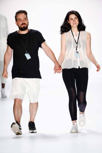 Designers Martin Eichler and Kristina Puljan on the runway