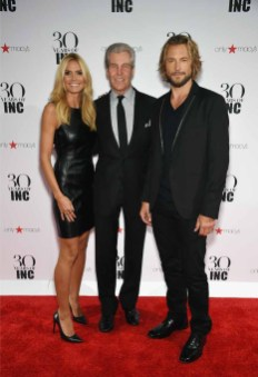 NEW YORK, NY - SEPTEMBER 10: (L-R) Heidi Klum, President and CEO, Macy's Terry Lundgren and Gabriel Aubry attend Heidi Klum + Gabriel Aubry's celebration of the launch of INC's 30th Anniversary Collection at IAC Building on September 10, 2015 in New York City. (Photo by Dimitrios Kambouris/Getty Images for Heidi Klum)