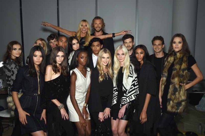 NEW YORK, NY - SEPTEMBER 10: Heidi Klum and Gabriel Aubry (C) pose with models during Heidi Klum + Gabriel Aubry's celebration of the launch of INC's 30th Anniversary Collection at IAC Building on September 10, 2015 in New York City. (Photo by Dimitrios Kambouris/Getty Images for Heidi Klum)