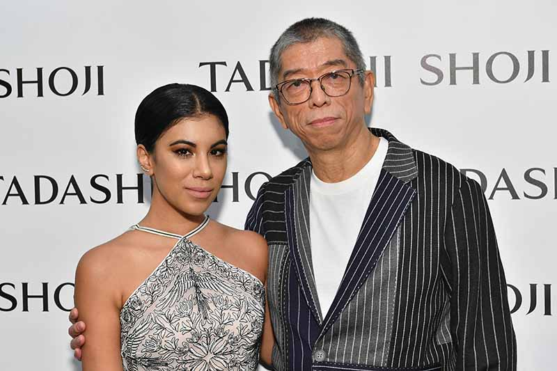 NEW YORK, NY - SEPTEMBER 07: Actress Chrissie Fit and designer Tadashi Shoji pose backstage before the Tadashi Shoji fashion show at Gallery 1, Skylight Clarkson Sq on September 7, 2017 in New York City. (Photo by Dia Dipasupil/Getty Images For Tadashi Shoji)
