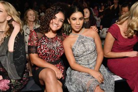 NEW YORK, NY - SEPTEMBER 07: Gymnast Laurie Hernandez and actress Chrissie Fit attend the Tadashi Shoji fashion show during New York Fashion Week: The Shows at Gallery 1, Skylight Clarkson Sq on September 7, 2017 in New York City. (Photo by Dia Dipasupil/Getty Images For Tadashi Shoji)