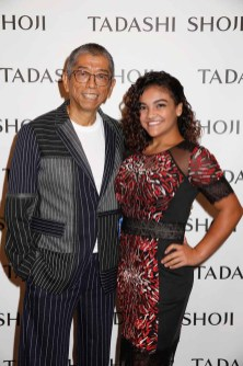 NEW YORK, NY - SEPTEMBER 07: Designer Tadashi Shoji and gymnast Laurie Hernandez pose backstage before the Tadashi Shoji fashion show at Gallery 1, Skylight Clarkson Sq on September 7, 2017 in New York City. (Photo by Thos Robinson/Getty Images For Tadashi Shoji)