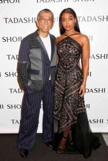NEW YORK, NY - SEPTEMBER 07: Designer Tadashi Shoji and Lori Harvey pose backstage before the Tadashi Shoji fashion show at Gallery 1, Skylight Clarkson Sq on September 7, 2017 in New York City. (Photo by Thos Robinson/Getty Images For Tadashi Shoji)