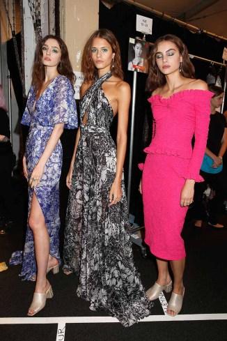 NEW YORK, NY - SEPTEMBER 07: Models prepare backstage for Tadashi Shoji fashion show at Gallery 1, Skylight Clarkson Sq on September 7, 2017 in New York City. (Photo by Thos Robinson/Getty Images For Tadashi Shoji)