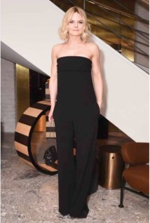 Jennifer Morrison in a Max Mara black strapless jumpsuit.