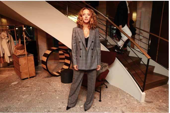 Zoe Buckman in Max Mara grey check suit.
